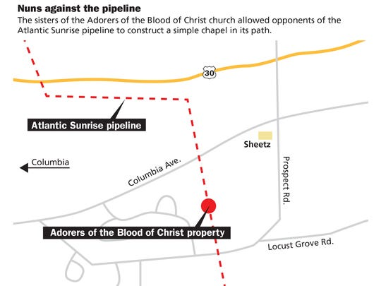 The sisters of the Adorers of the Blood of Christ church allowed opponents of the Atlantic Sunrise pipeline to construct a simple chapel in its path.