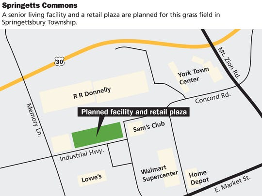 A senior living facility and a retail plaza are planned for this grass field in Springettsbury Township.