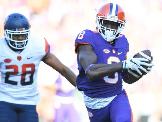Clemson's Deon Cain hauls in one of two touchdown receptions