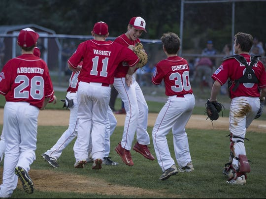 The Holbrook All-Stars celebrate after winning a game in the 2017 NJ State Tournament
