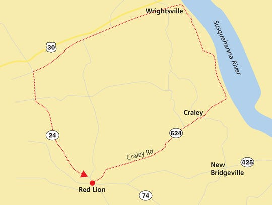 Ride from Red Lion to Wrightsville by taking Route