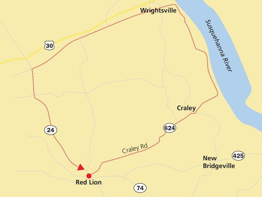 Ride from Red Lion to Wrightsville by taking Route 624. Hook onto Route 426 and then Route 24 to get back to Red Lion.