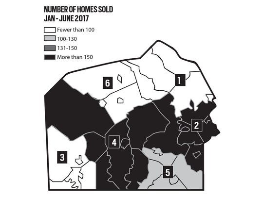 Number of homes sold in Adams County.