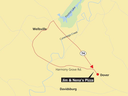 Start at Jim & Nena's Pizza in Dover and take Harmony Grove Road out to Wellsville. Once there, take Route 74 back to Dover.
