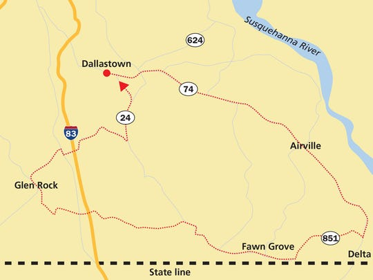 Start in Dallastown and take Route 74 down to Delta. Once in Delta, take Route 851 to Fawn Grove and Glen Rock before taking Route 24 back to Dallastown.