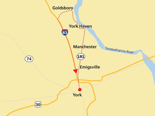 Starting in York, take Route 181 to Goldsboro. Once there, take Pines Road to Interstate 83, which will take riders back to York.