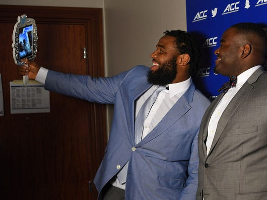 Christian Wilkins takes a selfie during the ACC Kickoff Media Day festivities in Charlotte in July.