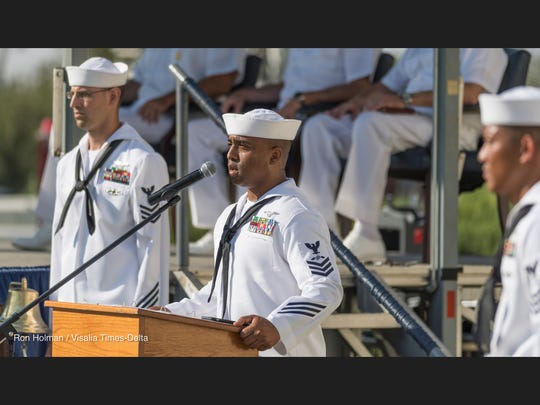 Members of the Chief Selectee Induction Class 124 retell the events of the Sept. 11 attacks in 2001 during Naval Air Station Lemoore's  ceremony on Monday, September 11, 2017.