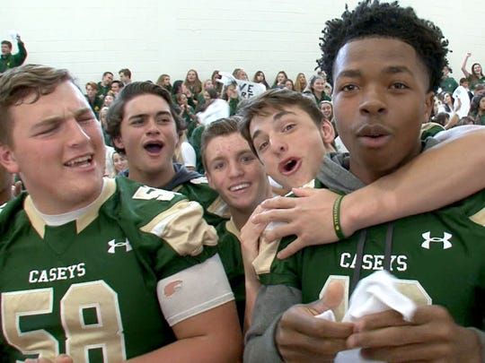"Red Bank Catholic students show their ""Caseys"" spirt during a taping of the Red Zone Road Show in Red Bank, Monday, October 2, 2017.  Thomas P. Costello"