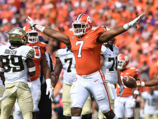 Clemson's Austin Bryant celebrates a defensive stop in the Tigers' victory against Wake Forest.
