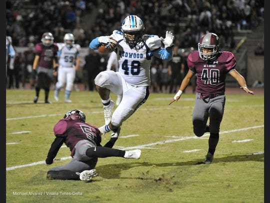 The 63rd annual Cowhide high school football game between Mt. Whitney and Redwood on November 3, 2017 at Mineral King Bowl.