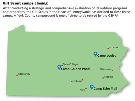 After conducting a strategic and comprehensive evaluation of its outdoor programs and properties, the Girl Scouts in the Heart of Pennsylvania has decided to close three camps. A York County campground is one of three to be retired by the GSHPA.