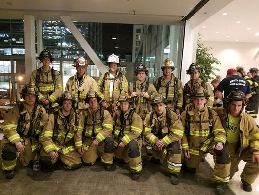 West Allis firefighter stair team