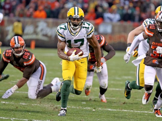 Green Bay Packers wide receiver Davante Adams (17) runs for the winning touchdown in overtime against the Cleveland Browns on Dec. 10, 2017 at FirstEnergy Stadium in Cleveland.