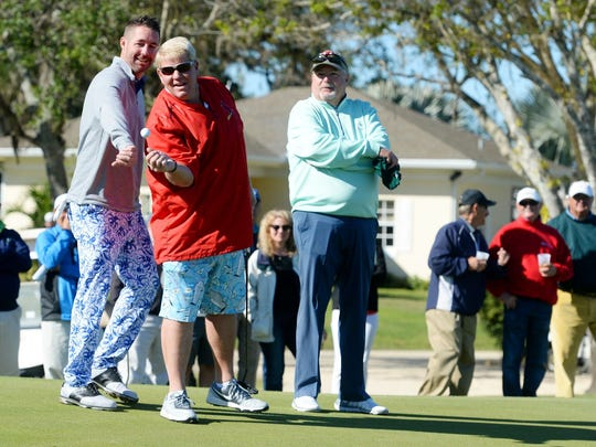 Despite chilly temperatures Daly opted to wear bright blue shorts.