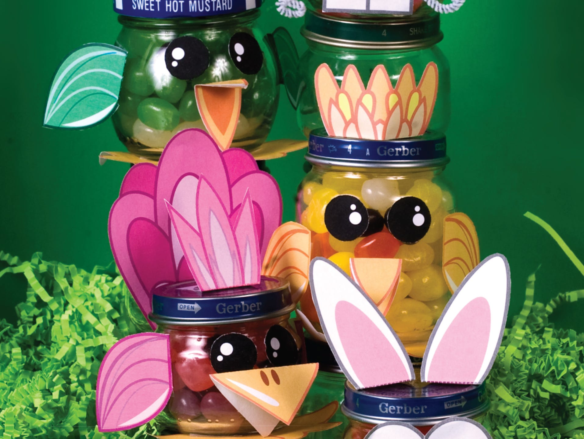 Here's an Easter craft that's easy and fun! Download parts to turn small jars into something special!