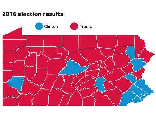 Here is a map of Pennsylvania counties that Republican