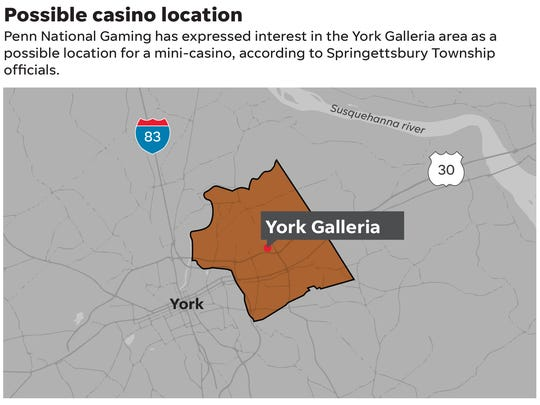 Penn National Gaming has expressed interest in the York Galleria area as a possible location for a mini-casino, according to Springettsbury Township officials.