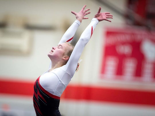 Renee Hinchcliffe will compete in the vault at this year's state meet after taking 22nd in the event a season ago.
