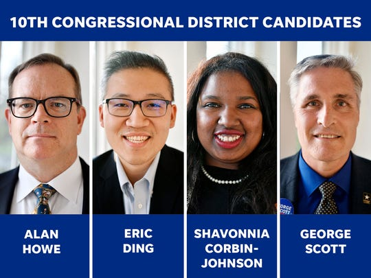 Four candidates are competing in the Pennsylvania's 10th Congressional District race.