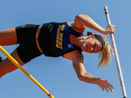 Dailey Albino now has two state titles in the pole vault.