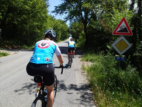 Some hill climbs in Tuscany are at a steep grade (marked