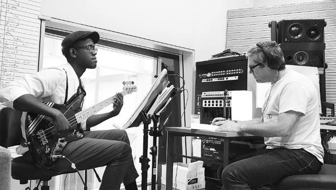 Brandon Gilliard and John Powell inside a Hollywood Studio recording the soundtrack for the new movie, Ferdinand, which releases to movie theaters everywhere December 15.