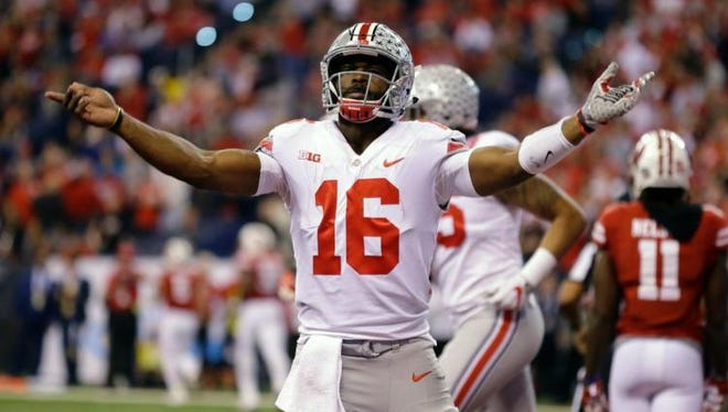 Ohio State quarterback J.T. Barrett led his team to a Big Ten title with a win over Wisconsin on Saturday.