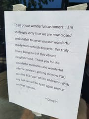 A note tapped to the door at Frona Mae's thanks customers and reveals plans for a location elsewhere.