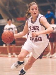 Amanda Speich, one of Rose-Hulman's first women's basketball
