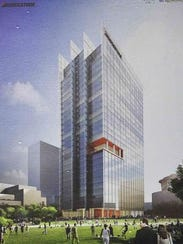 Rendering of the building on 4th and Demonbreun Street in Nashville that houses Bridgestone Americas' headquarters.