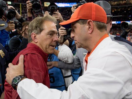 Alabama head coach Nick Saban and Clemson head coach