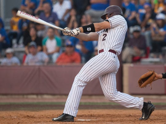 Calallen's Brandon Broughton bats during the third