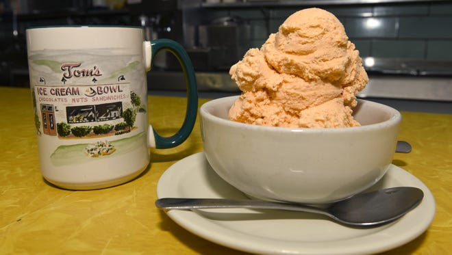 Pumpkin ice cream at Tom's Ice Cream Bowl is the most popular seasonal flavors. Cinnamon is also currently available on the fall menu.