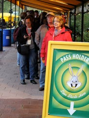 """Pass holders wait for the screening of """"Sherpa"""" on"""