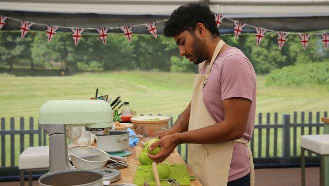 Tamal competes in the season finale of 'The Great British Baking Show.'