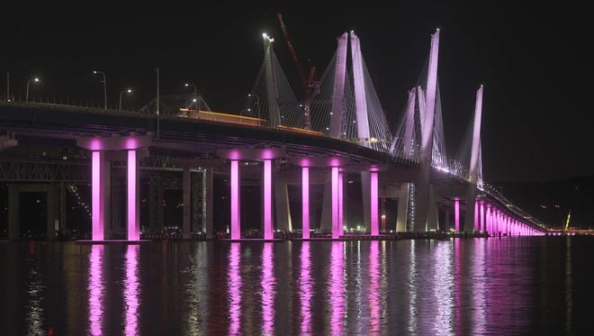 The Gov. Mario Cuomo Bridge with pink lights in honor of Breast Cancer Awareness Month Oct. 20, 2017.