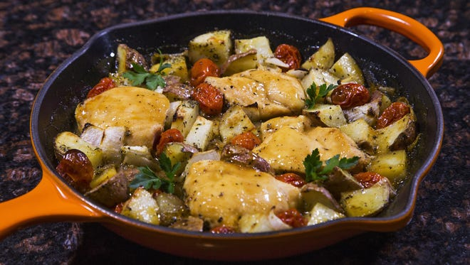 Robin Miller has come up with four skillet dinners that are easy to make, including this chicken and potatoes.