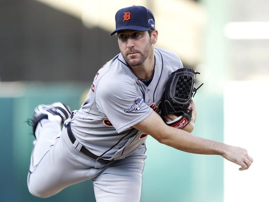 Justin Verlander pitches in the first inning against the Athletics in Game 5 of the ALDS in Oakland, Oct. 10, 2013.