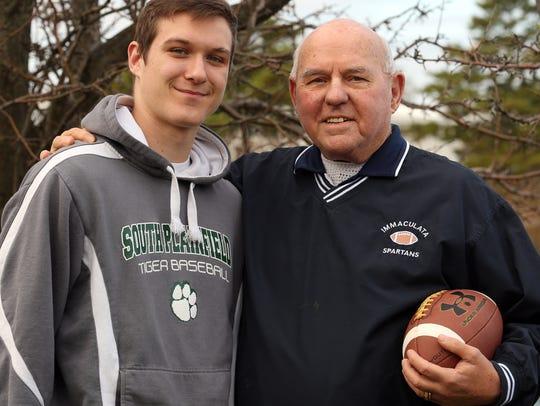 Pierce Frauenheim with his grandson Connor Adams (South