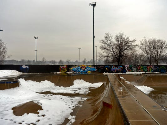 Snow covers Reid Menzer Memorial Skatepark on March 4. Construction is slated to expand the skatepark this spring.