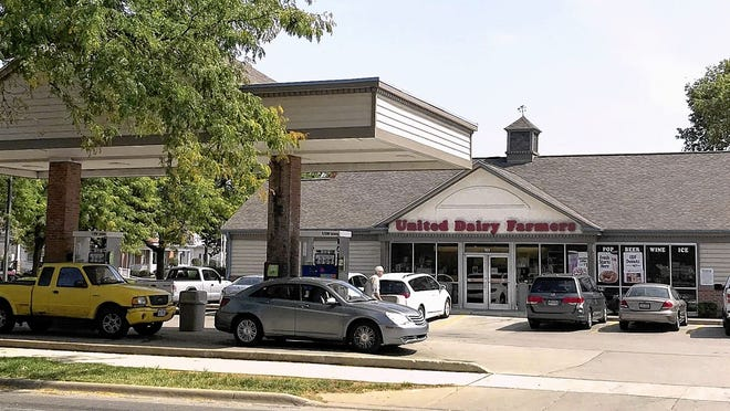 United Dairy Farmers representatives are proposing to replace the UDF service station at 123 W. William St. with a larger building. Delaware Run, which flooded May 19, runs beneath the station, as well as the adjacent section of William Street and Boardman Park on the other side of William Street.