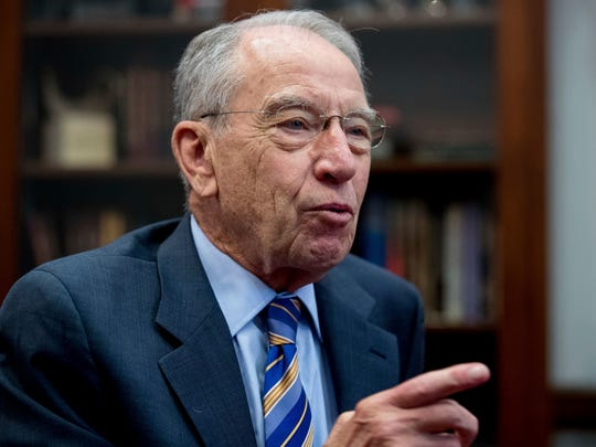 Sen. Chuck Grassley, R-Iowa, speaks while meeting with