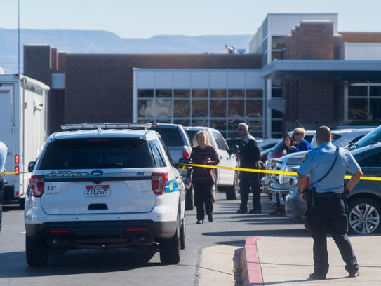 First responders secure a perimeter outside Pine View