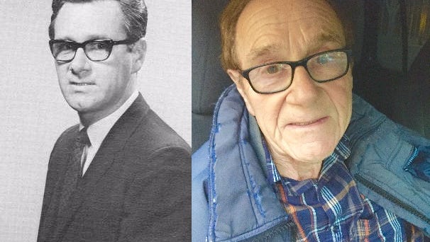 Two photos show Frank John Selas III — a handout photo (left) from his days at Monroe's KNOE-TV in the late 1970s and the Jan. 25, 2016, photo (right) when he was arrested in Bonita, California, on two 1979 warrants from Rapides Parish.