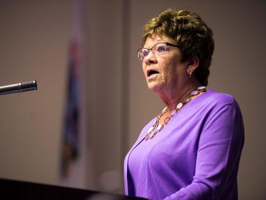 Broome County Executive Debbie Preston delivers her