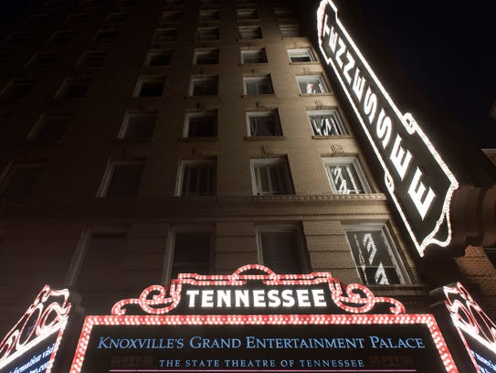 The Tennessee Theatre marquee was relit on Wednesday,