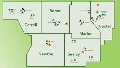 This map shows the six counties that comprise the Ozark Mountain Solid Waste District: Carroll, Newton, Boone, Searcy, Marion and Baxter counties.