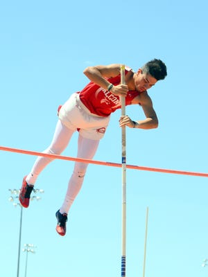 Loving's Joel Hernandez won the boys pole vault during Saturday's District 4-3A championships.