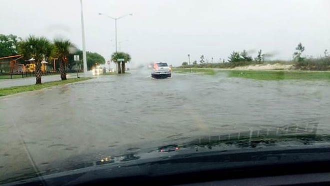 Flash flooding on U.S. 90 in Biloxi, Miss,